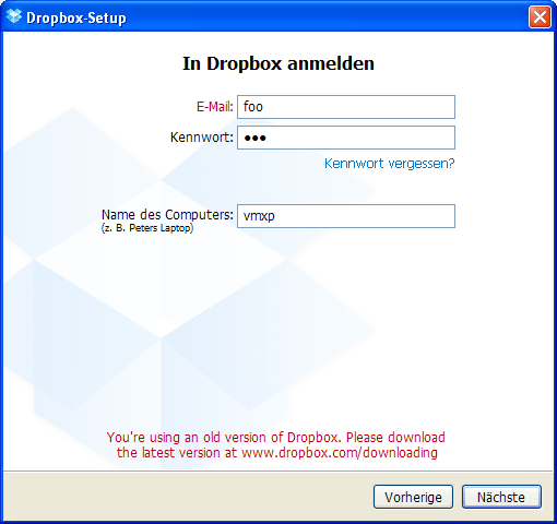 Dropbox Setup old version error